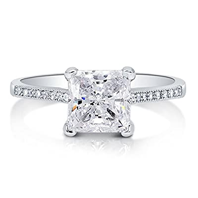 BERRICLE Sterling Silver Princess Cut Cubic Zirconia CZ Solitaire Engagement Wedding Bridal Ring