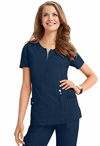 Beyond Scrubs Women's Mia Zip Front Scrub Top L Navy