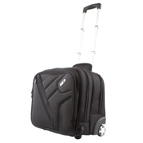 Powerbag Wheeled Brief Case with Battery for Charging Smartphones, Tablets and eReaders, Black (RFAP-0086F)