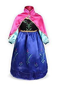 ReliBeauty Girls' Princess Elsa Fancy Dress Costume (6, Blue(Anna))