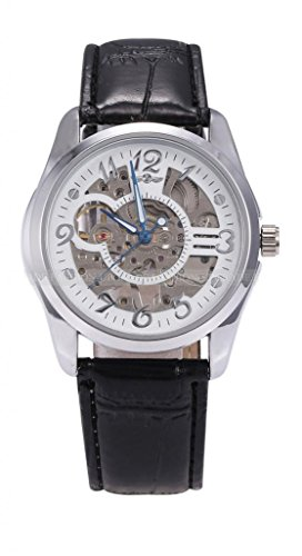 Winner Skeleton White Dial Hand-Winding Fashion Mechanical Men'S Wrist Watch