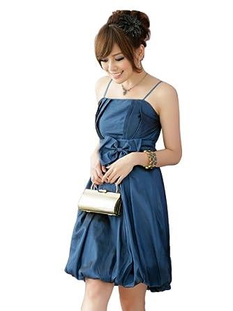 JK2 - Robe de cocktail boule avec noeud bleu - Taille M