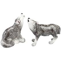 Andrea Sadek Ceramic 3 Gray Wolves Salt Pepper Shakers #61243