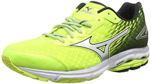 Mizuno Wave Rider 19 - Safety Yellow/Silver/Dark Shadow, 44