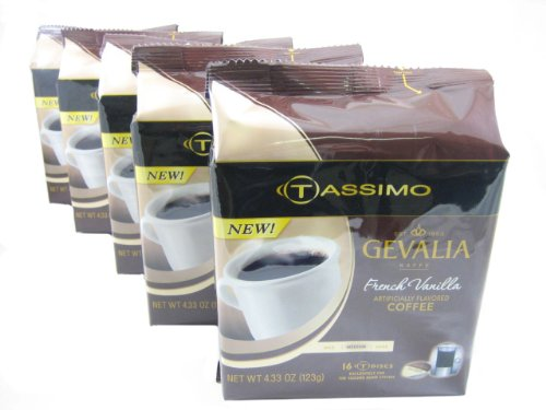 Tassimo T-Discs: Gevalia French Vanilla Coffee T-Disc Pods (Case of 5 packages; 80 T-Discs Total) (Tassimo Vanilla Coffee compare prices)