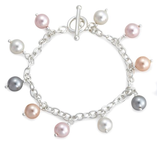 Pink, White and Grey Simulated Pearls Bracelet, Silver, 19cm Length, Model 8.24.4422