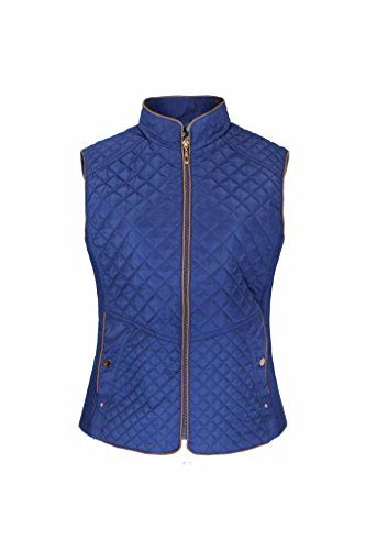 Women's Lightweight Quilted Zip Front Fur Padded Jacket Vest Plus Size Blue 3XL (Quilted Thermal Jacket compare prices)