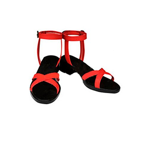[Japan Cosplay] VOCALOID Miku Hatsune Skirt Sandals Black Red Japanese Anime Cosplay Shoes Mens