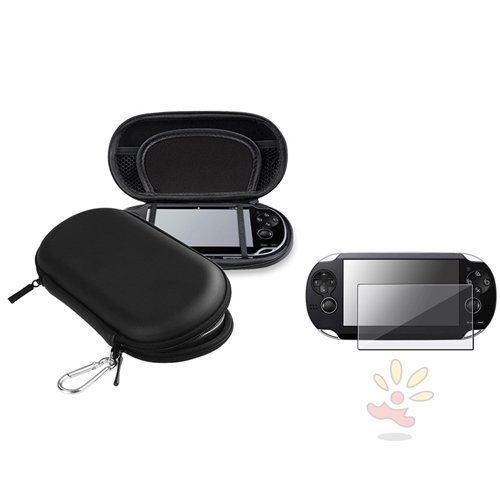 Everydaysource® Compatible With Sony Playstation Vita Psv Eva Case, Black + Clear Reusable Screen Protector