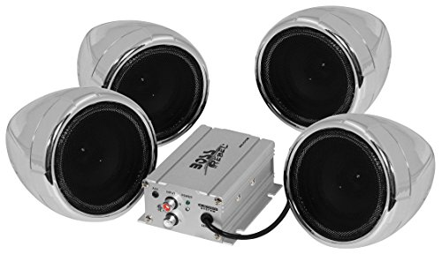 BOSS AUDIO MC470B Chrome 1000 watt Motorcycle/ATV Sound System with Bluetooth Audio Streaming, Two Pairs of 3 Inch Weather Proof Speakers, Aux Input and Volume Control (Cycle Sounds compare prices)