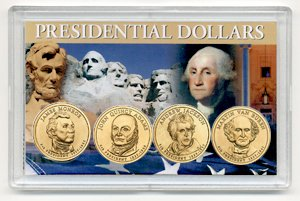 Presidents of the United States Holder with Set of 4 BU 2008-D Presidential Dollars