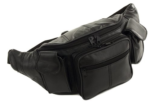 Modern Leather New Large Black 5 Pocket Leather Fanny Fannie Waist Lumbar Hip Pack Bag With Dual Cellphone Pockets and Organizer at Sears.com