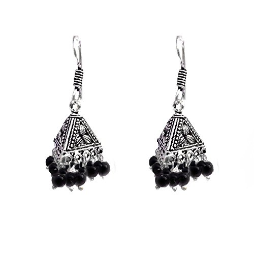 Kaizer Jewelry HandiCraft HandMade High Quality German Silver Triangle Flower Jhumki with Black beads (Better than Oxidized) Jhumki Jhumka For Women / Girls (Gift)  available at amazon for Rs.199