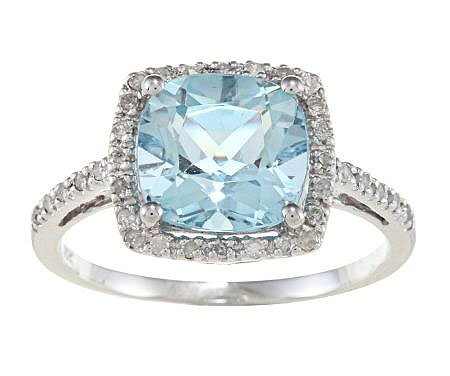10k White Gold Cushion Blue Topaz and Diamond Ring (1/4 TDW)