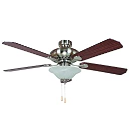 Yosemite Home Decor WHITNEY-BBN-1 52-Inch Ceiling Fan with Light Kit and Sapele/Maple Blades, Bright Brushed Nickel