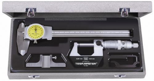 Brown & Sharpe TESA 05.30021 4-Piece Measuring Set with Micrometer, Dial Calipers, Depth Measuring Base, and Storage Case (Brown And Sharpe Vernier Caliper compare prices)