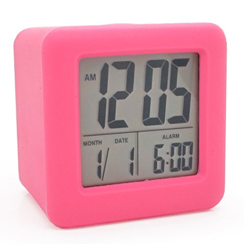 JCC Automatic Night Glow Smart Night-activated Sensor Silicone Protective Cover Digital Silent LCD Large Screen Desk Bedside Alarm Clock with Date and Temperature Display Snooze Function (Pink)