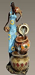 Gorgeous African American Lady Indoor Water Fountain Collector Art Piece D61016