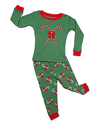 """Leveret """"Christmas"""" 2 Piece Pajama Set 100% Cotton Variety of Styles (6M-5T) (12-18 Months, Candy Cane)"""