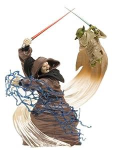 "Star Wars Unleashed 10"" Inch Statue Figure YODA vs DARTH SIDIOUS Hasbro 2005"