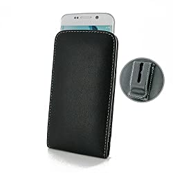 Samsung Galaxy S6 edge Leather Case / Cover Protective Carrying Phone Case / Cover (Handmade Genuine Leather) - Vertical Pouch Case Cover (WITH Belt Clip) (Black) by Pdair
