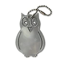funflector Safety Reflector - Owl - Ultra bright reflective tag for jackets purses bags and backpacks Silver 1-pack