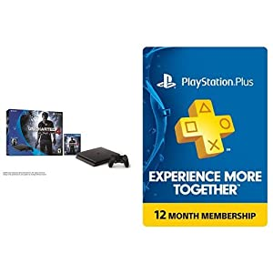 PlayStation 4 Slim 500GB Uncharted 4 Console + 1 year PlayStation Plus Membership