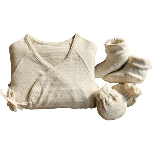 100% Organic Newborn Long Sleeve Side Snap Shirt, Mittens And Booties / Gift Set front-1003970