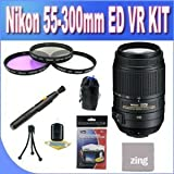 Nikon 55-300mm f 4.5-5.6G ED VR AF-S DX Nikkor Zoom Lens for Nikon Digital SLR (White Box) + 3 Piece Filter Kit w Case + Lens Pouch + Microfiber Cleaning Cloth + Lens Pen Cleaner + Accessory Saver Bundle !!