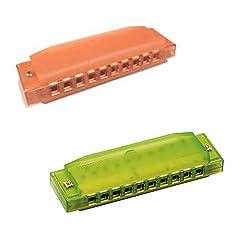 Hohner Kids Bpa Free Translucent Harmonica 2 Pack Orange & Green Harmonicas