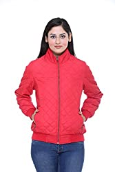 Trufit Full Sleeves Solid Women's Red Quilted Polyester Bomber Biker Jacket