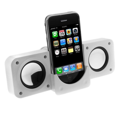 White Portable Folding Stereo Speaker For Apple Ipod Touch 4Th Generation