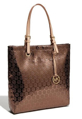 Michael Kors Jet Set NS Tote Monogram Mirror Metallic Cocoa B005I6USXK PursesCatalog com from pursescatalog.com