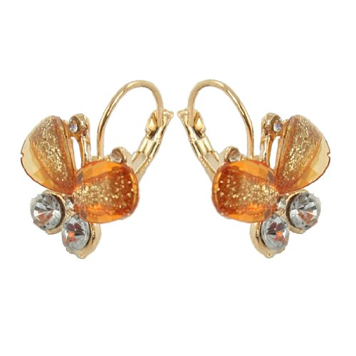 Rosallini Pair Amber Plastic Butterfly Shaped Gold Tone Clip Earrings for Ladies