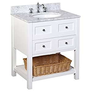 New Yorker 30 Inch Bathroom Vanity Carrara White Includes Italian Carrara
