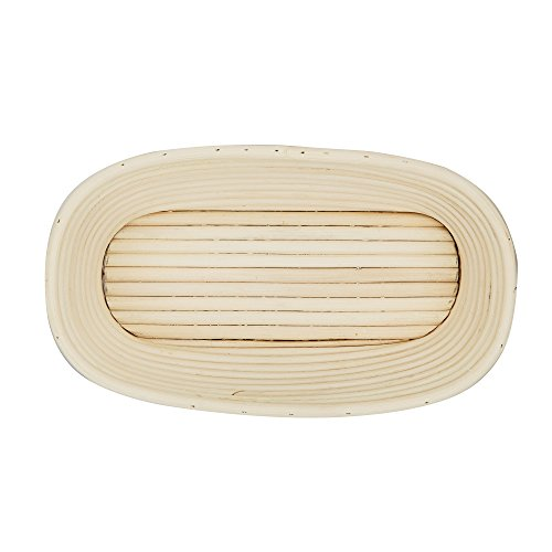 "DOYOLLA 1pcs Oval Shaped 10"" Banneton Brotform Bread Dough Proofing Rising Rattan Basket & Liner Combo"