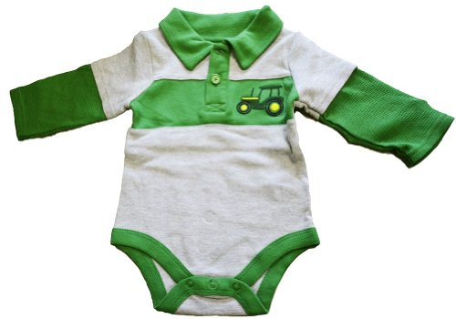 John Deere Embroidered Tractor Green/Gray Thermal Sleeve Onesie (3 Month)