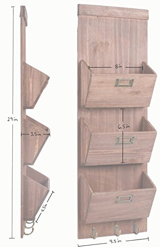 Rustic Wooden Wall Storage Mail Sorter Letter Organizer ...