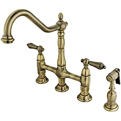 Kingston Brass KS1273ALBS Heritage Kitchen Faucet with Brass Sprayer, 8-3/4-Inch, Vintage Brass