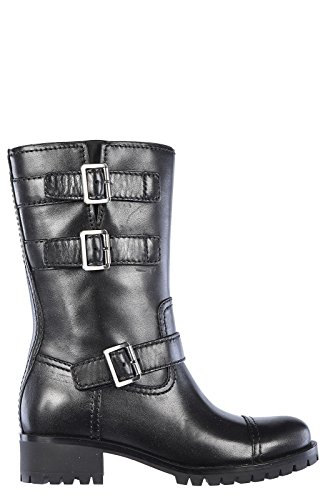 Prada womens leather boots black