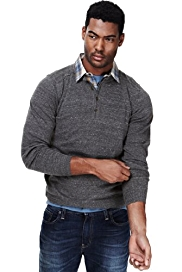 2in Longer North Coast Grandad Collar Mock Layer Flecked Shirt Jumper