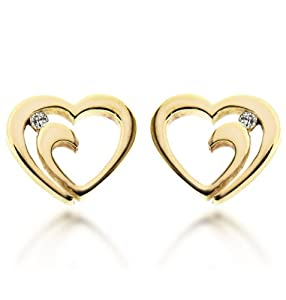 Carissima 9ct Yellow Gold Heart and 0.07ct Diamond Stud Earrings
