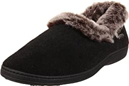 ACORN Women\'s Chinchilla Collar Slipper Black,Large 8-9 M US