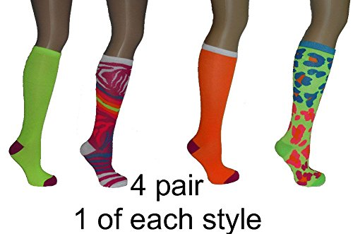 PACK OF 4 Tall boot Knee High over the calf ladies knee-hi novelty SOCKS (Neon Green Leopard print - Neon Pink Zebra print - Lime Green qith purple toe heel - Neon Orange with purple toe heel) (Walmart Women Clothing compare prices)