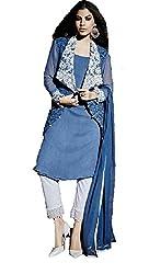 Desi Girl Fashion Store Women's Georgette Unstitched Dress Material (DGFS01_Blue_Freesize)