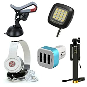 Premium Travel VM46 Headphones+ 3 Jack Car Charger+Sefie Stick Aux+SelfieFlash+Mobile Holder Compatible with Oppo R5