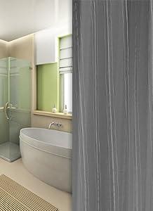 textile rideau de douche anthracite grise argentine 120x200 bagues!