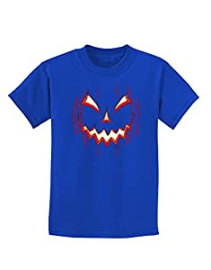 Scary Glow Evil Jack O Lantern Pumpkin Childrens Dark T-Shirt - Royal Blue - XL