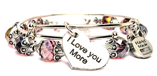 2 Piece Set I Love You More Rose Pink Bangle Bracelet Collection