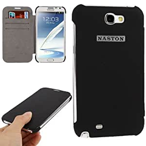 Litchi Texture Top-grain Leather Case with Credit Card Slots for Samsung Galaxy Note 2 N7100 (Black)